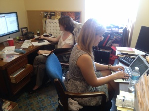 2013 Intern Elizabeth Floyd (right) at the ASC offices with College Prep Director Kim Newton (left)