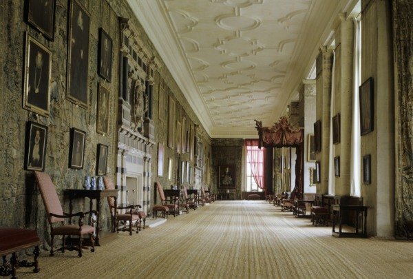 Room view of the whole of the Long Gallery at Hardwick Hall, Derbyshire, with the Gideon tapestries on the left